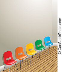 waiting room chairs - an illustration of five chairs against...