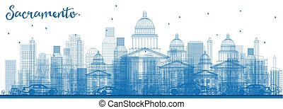 Outline Sacramento Skyline with Blue Buildings.