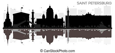 Saint Petersburg City skyline black and white silhouette with reflections.