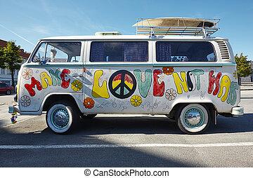 Hippie van retro style. Make love not war. Psychedelic