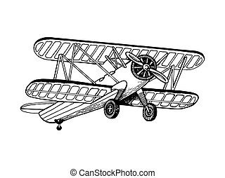 Old airplane biplane engraving vector