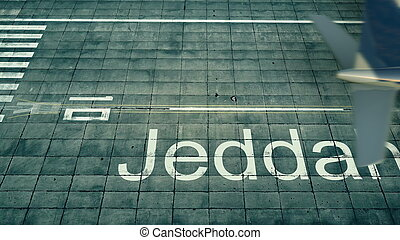 Aerial view of an airplane arriving to Jeddah airport. Travel to Saudi Arabia 3D rendering