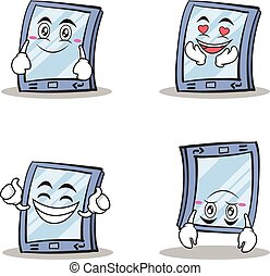 Collection of tablet character cartoon style set