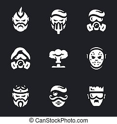 Vector Set of Post-apocalypse Characters Icons. - Man,...