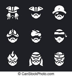 Vector Set of Pirate Icons. - Captain, thief, robber,...