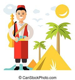 Vector Merchant of fresh water. Flat style colorful Cartoon...