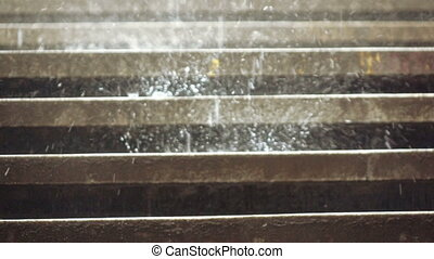 Rains on the steps - On the steps of the descent in the...
