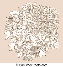 Doodle art floral composition. Henna tattoo - Beautiful...