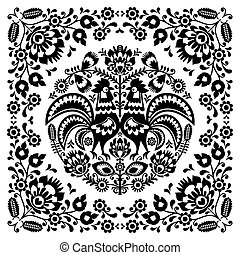 Polish Floral Folk Art Square Pattern With Rooster -...