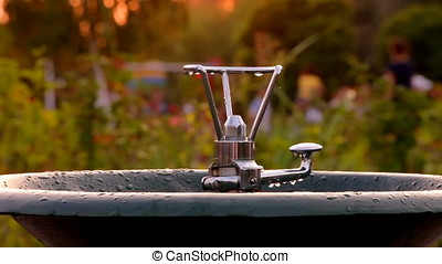 Drinking Fountain Bubbler Waiting For People At Sunset -...