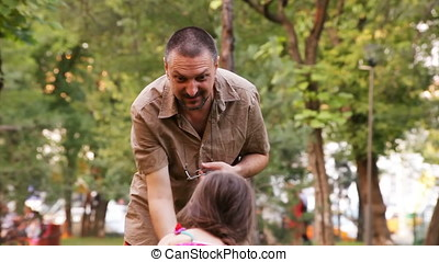 Father Daughter Having Fun in Park - Father daughter having...