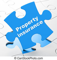 Insurance concept: Property Insurance on puzzle background -...