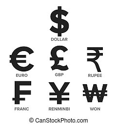 Currency Icon Set Vector. Money. Famous World Currency....