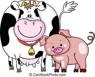 Cow and pig - Scalable vectorial image representing a cow...