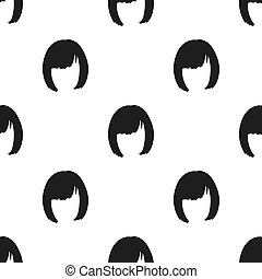 Square.Back hairstyle single icon in black style vector...