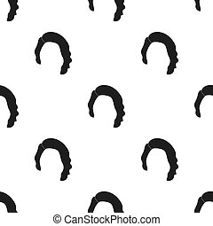 Dark short.Back hairstyle single icon in black style vector...