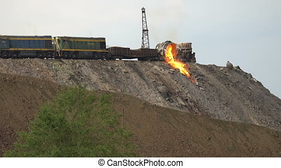 Pour molten slag from the vat. Slow motion - Pour molten...