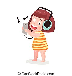 Cute cartoon little girl listening music with headphones colorful character vector Illustration