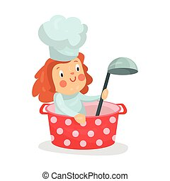 Cute cartoon little girl chef character sitting in a pan with ladle vector Illustration