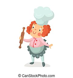 Cute cartoon little girl chef character with rolling pin vector Illustration
