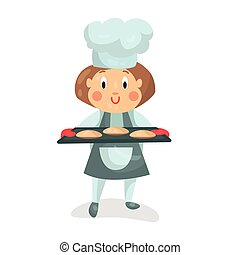 Cute cartoon little girl chef character holding a cooking tray with buns vector Illustration