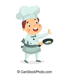 Cute cartoon little boy chef character holding a frying pan with fried eggs vector Illustration