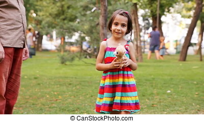 Daughter Playing Plush Toy - Daughter holding ready to throw...
