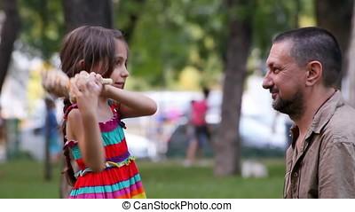 Daughter Throwing Plush to Father - Daughter throwing plush...