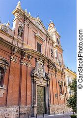 Facade of the Santo Tomas church in Valencia, Spain