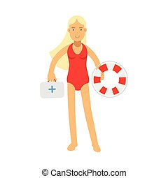 Lifeguard girl character in a red swimsuit holding lifebuoy and first aid kit vector Illustration