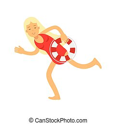 Blonde lifeguard girl character in a red swimsuit running with lifebuoy vector Illustration