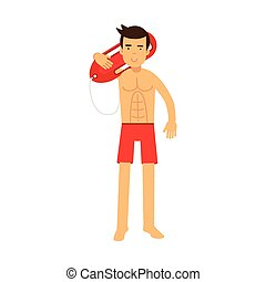 Lifeguard man character on duty standing and holding life preserver buoy on his shoulder vector Illustration