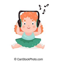 Cute cartoon little girl sitting and listening music with headphones colorful character vector Illustration