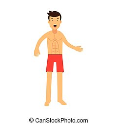 Lifeguard man character on duty vector Illustration