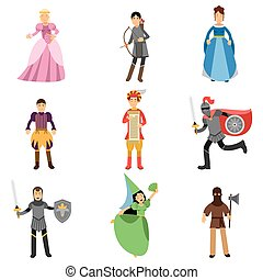 Medieval characters set, people in the historical costumes of medieval Europe vector Illustrations