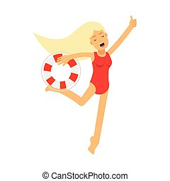 Lifeguard girl character in a red swimsuit running with lifebuoy vector Illustration