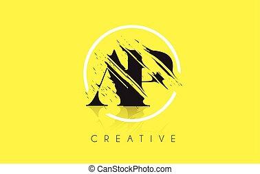 AP Letter Logo with Vintage Grundge Drawing Design....