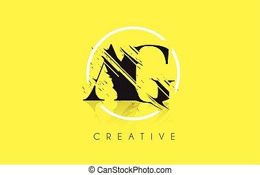 AG Letter Logo with Vintage Grundge Drawing Design....