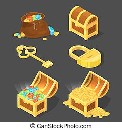 Old wooden chest with treasures, vintage key and lock. Vector illustrations in cartoon style