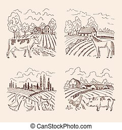 Vector village and big field. Landscape with farming and animals. Set of for illustrations in retro style
