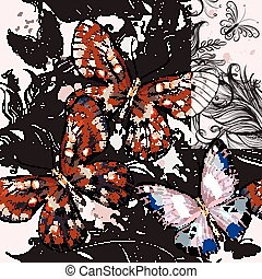 Beautiful fashion pattern with butterflies and ornament.eps...