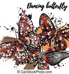 Butterfly fashion illustration with butterflies and ink...