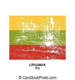 flag grunge-21 - Grunge Lithuania flag isolated on white...