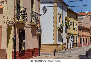 Colorful street in the old town of Almansa, Spain