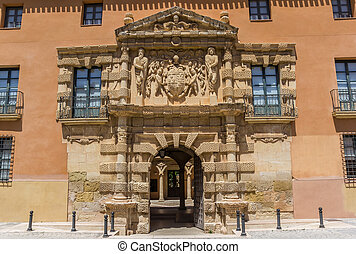 Entrance to the historic town hall of Almansa, Spain