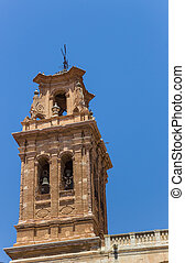 Bellfry of the historic church of Almansa, Spain