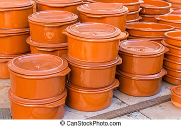 Traditional spanish cooking pots at the tourist market of Valencia