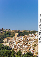 View over white houses of Alcala del Jucar, Spain
