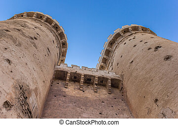Towers of the old city gate Torres de Quart in Valencia,...