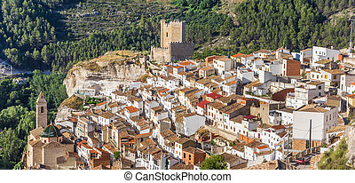 Panorama of mountain village Alcala del Jucar, Spain